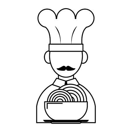 Avatar de chef de cuisine et de nourriture de restaurant et un bol avec des dessins animés d'icônes de spaguetti en noir et blanc vector illustration graphic design Vecteurs