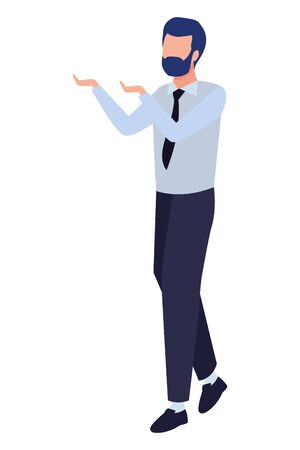business man with beard avatar cartoon character vector illustration graphic design