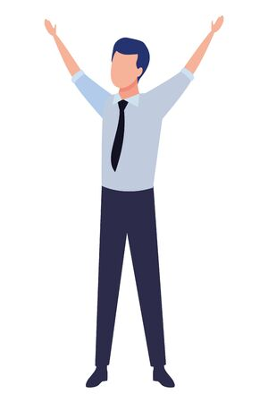 business man with hands up avatar cartoon character vector illustration graphic design Ilustrace