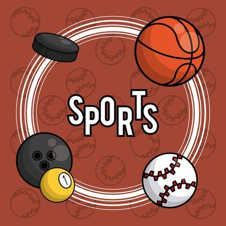 Sports balls equipment hockey puck bowling basketball baseball vibrant bold letters colorful fitness physical activity card background vector illustration graphic design Illusztráció