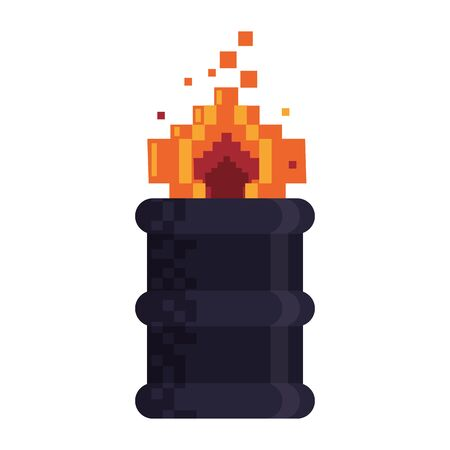 Retro videogame barrel in fire pixelated cartoon vector illustration graphic design 일러스트
