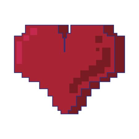 Retor videogame heart pixelated cartoon isolated vector illustration graphic design