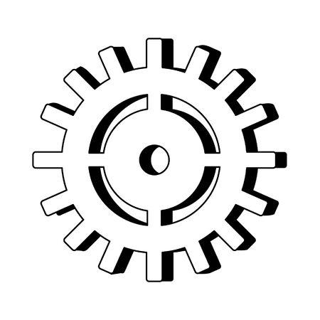 Symbole de machines d'engrenage isolé dessin animé vector illustration graphisme