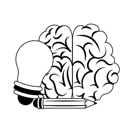 Brain with big idea bulb light and pencil vector illustration graphic design