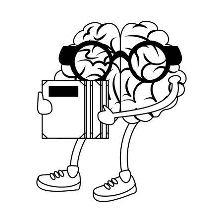 Brain with glasses holding books cartoons vector illustration graphic design Illustration