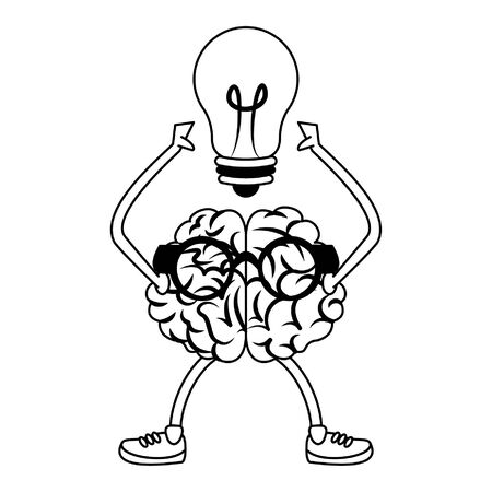Brain with glasses and bulb light cartoon vector illustration graphic design