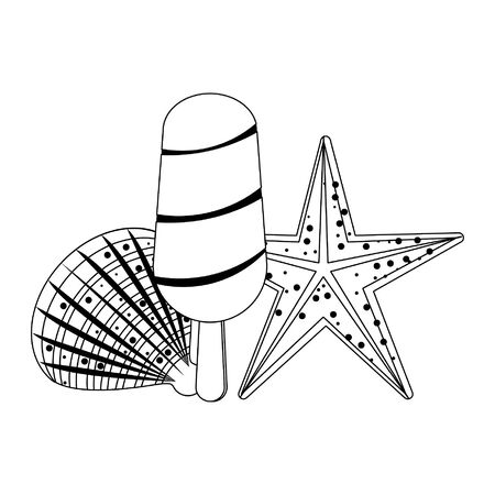 summer beach and vacation with shell, starfish and ice lollys icon cartoons in black and white vector illustration graphic design