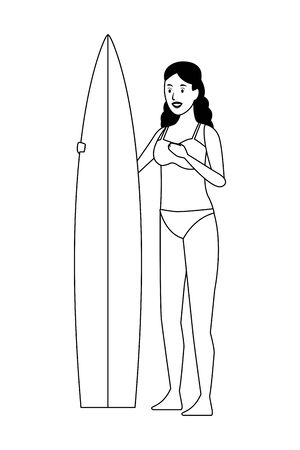 Young woman in swimsuit with surf table cartoon vector illustration graphic design Vectores