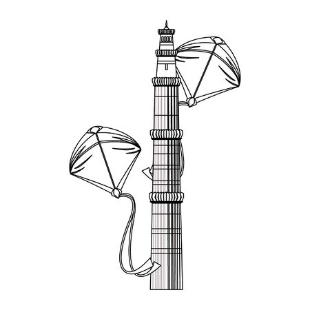 Indian patriotic emblems tower and kites cartoons isolated vector illustration graphic design 일러스트