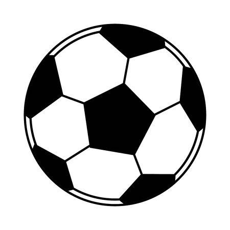piłka nożna balon ikona kreskówka na białym tle czarno-biały wektor ilustracja projekt graficzny
