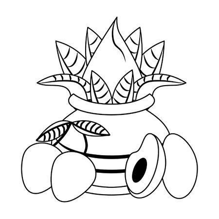 Ugadi festival offering flowers pot with avocado and mangos cartoons vector illustration graphic design Ilustração