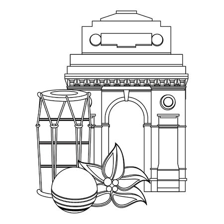 Indian patriotic emblems cartoons gateway and drum with leaves isolated vector illustration graphic design