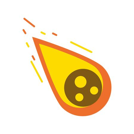 Falling meteor in fire symbol isolated vector illustration graphic design Vectores