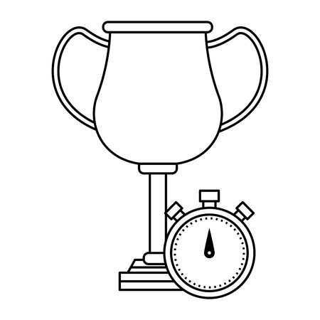 trophy cup award with chronometer icon cartoon in black and white vector illustration graphic design Çizim