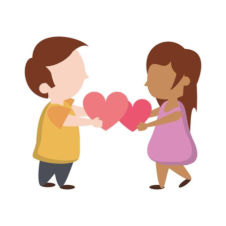 Kids in love with big hearts cartoon vector illustration graphic design
