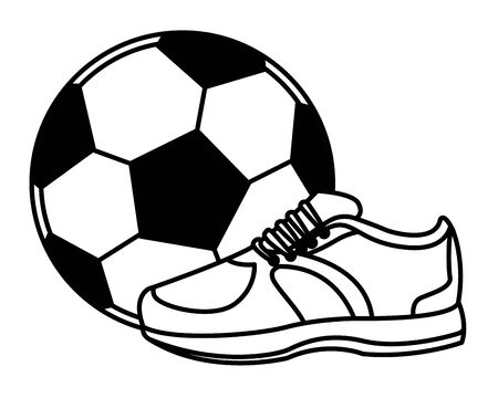 soccer balloon and sneaker icon cartoon isolated black and white vector illustration graphic design