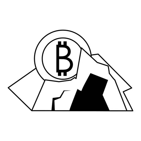 Bitcoin cryptocurrencycoin in rocks symbol isolated vector illustration graphic design