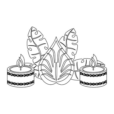 Ugadi indian celebration emblems flowers and candle cartoons vector illustration graphic design