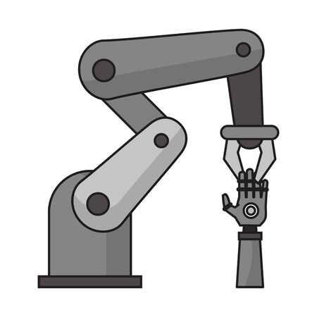 Hydraulic arm holding bionic hand vector illustration graphic design Vectores