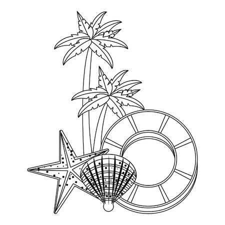 summer beach and vacation with palms, shell, starfish icon cartoons in black and white vector illustration graphic design