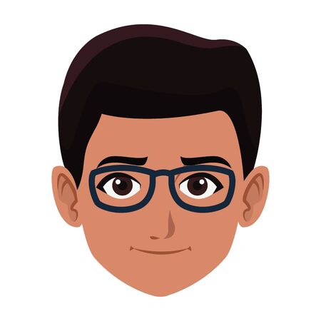 indian young boy face with glasses profile picture avatar cartoon character portrait vector illustration graphic design 矢量图像