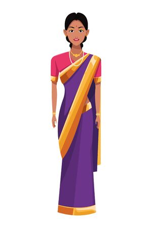 indian woman with necklace wearing traditional hindu clothes profile picture avatar cartoon character portrait vector illustration graphic design