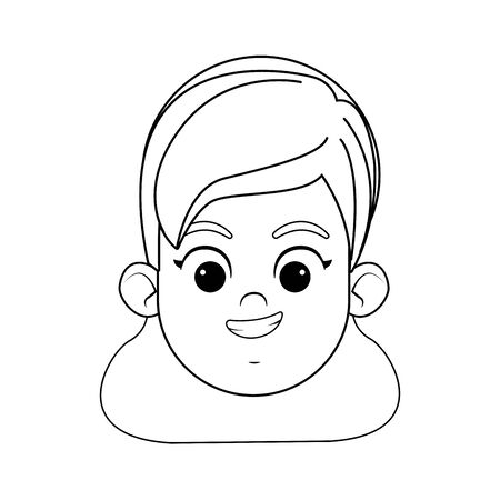 blond girl with green eyes smiling face avatar profile picture cartoon character portrait in black and white vector illustration graphic design