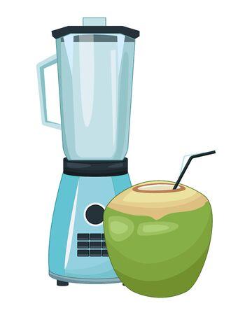 Coconut cocktail and blender drink recipe vector illustration graphic design Ilustração