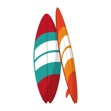 Surf tables summer cartoons isolated vector illustration graphic design