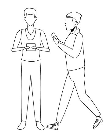 casual people men with technology device cartoon vector illustration graphic design 일러스트
