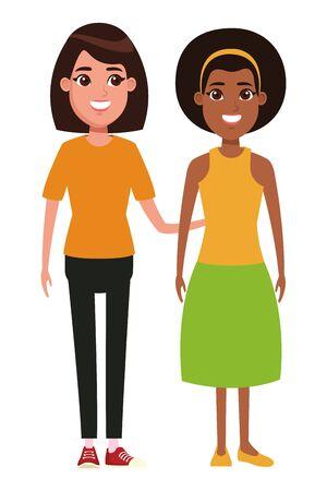 avatar frauen avatar afroamerikanische frau mit bandana und frau mit kurzen haaren profilbild zeichentrickfigur porträt vektorillustration grafikdesign