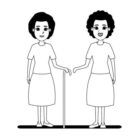 Avatar de personnes âgées vieille femme afro-américaine et vieille femme avec photo de profil de canne portrait de personnage de dessin animé en noir et blanc illustration vectorielle design graphique Vecteurs
