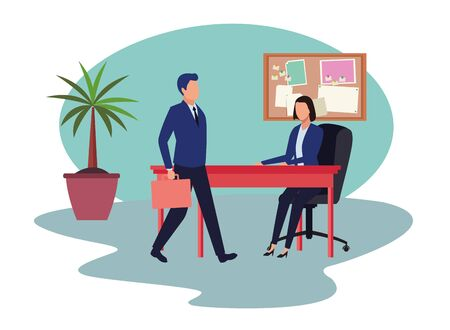 business business people businessman carrying a briefcase and businesswoman sitting on a desk with speech bubbles avatar