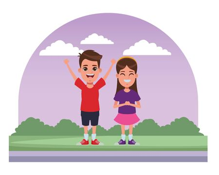 two children girl with bandana smiling and boy with hands up profile picture cartoon character portrait in the street with trees 일러스트