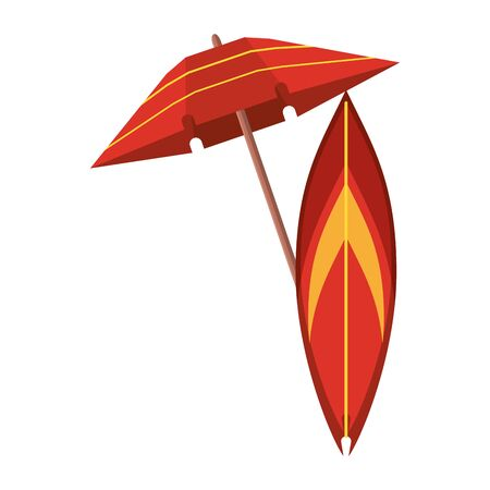 Beach umbrella and surf table cartoon isolated vector illustration graphic design
