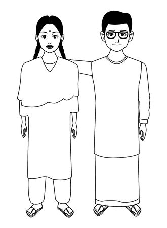 group of three indian wearing traditional hindu clothes woman with hiyab, man with moustache, glasses and a big necklace and man with moustache and bald wearing traditional hindu clothes profile picture avatar cartoon character portrait in black and white vector illustration graphic design