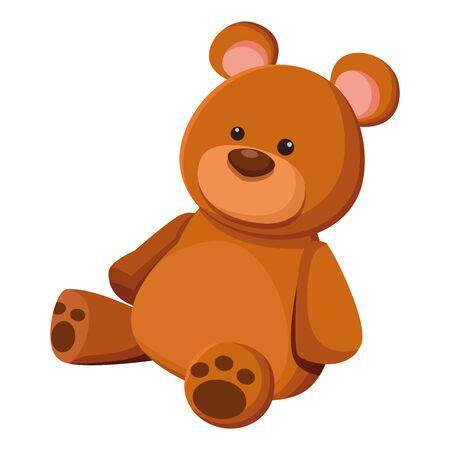 Diseño gráfico del ejemplo del vector aislado de la historieta del icono del juguete del oso de peluche Ilustración de vector