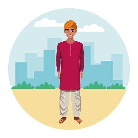 indian man with moustache and turban wearing traditional hindu clothes profile picture avatar cartoon character portrait over the 向量圖像