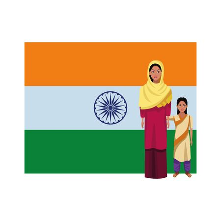 indian family woman with sari and hiyab young girl with sari and big indian flag behind profile picture avatar cartoon character portrait vector illustration graphic design