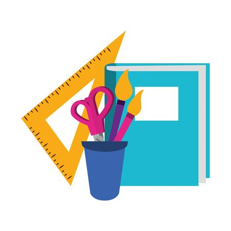 Back to school education book and ruler with scissors and brushes in cup cartoons vector illustration graphic design Stock Illustratie