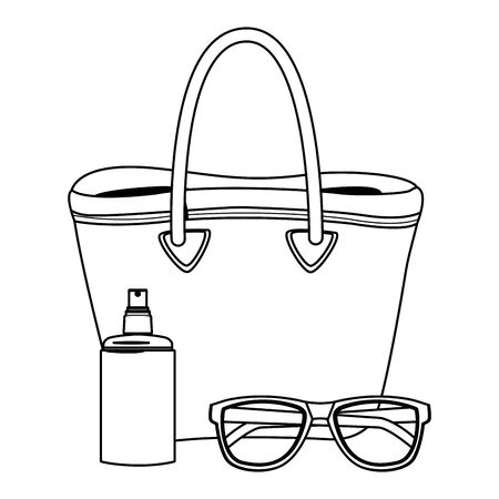 summer beach and vacation with sunscreen jar, sunglasses and beach bag icon cartoon in black and white vector illustration graphic design Illustration