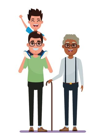 family avatar father with glasses carrying a boy in the shoulder and afroamerican grandfather with glasse and cane profile