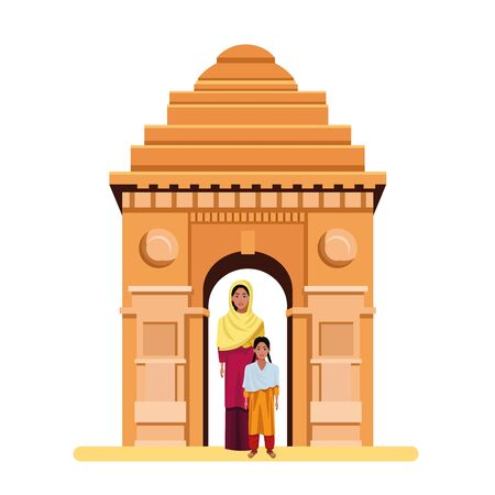 indian family woman with sari and hiyab young girl with sari and indian monument gateway of india behind profile picture avatar