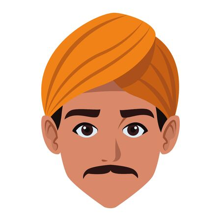 indian man face with moustache wearing a turban profile picture avatar cartoon character portrait vector illustration graphic design