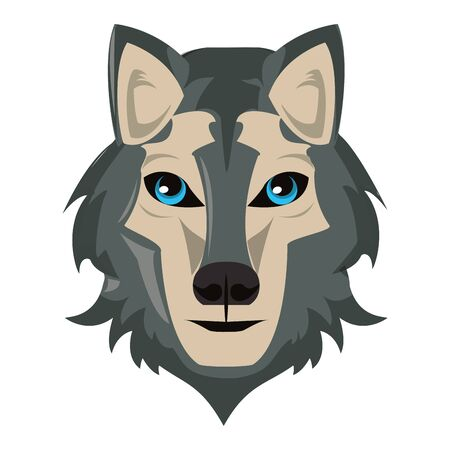 Wolf wildlife animal head cartoon isolated vector illustration graphic design