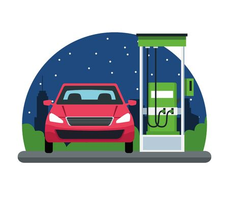 car in a gas station cityscape at night icon cartoon vector illustration graphic design