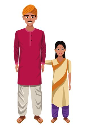 indian family man with moustache and turban young girl with sari profile picture avatar cartoon character portrait vector illustration graphic design 矢量图像