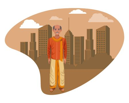 indian man with moustache and bald wearing traditional hindu clothes profile picture avatar cartoon character portrait outdoor