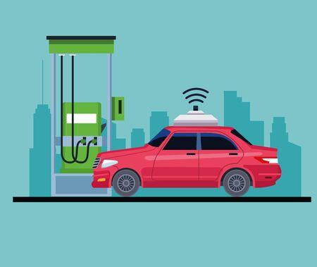 car in a gas station cityscape silhouette icon cartoon vector illustration graphic design Ilustração Vetorial