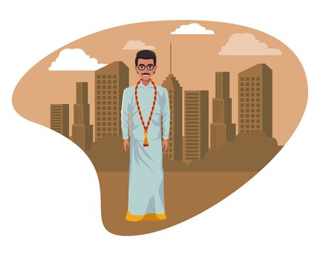 indian man with moustache and glasses wearing traditional hindu clothes profile picture avatar cartoon character portrait